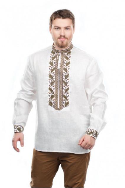 Сорочка чоловіча Дуб (льон білий)