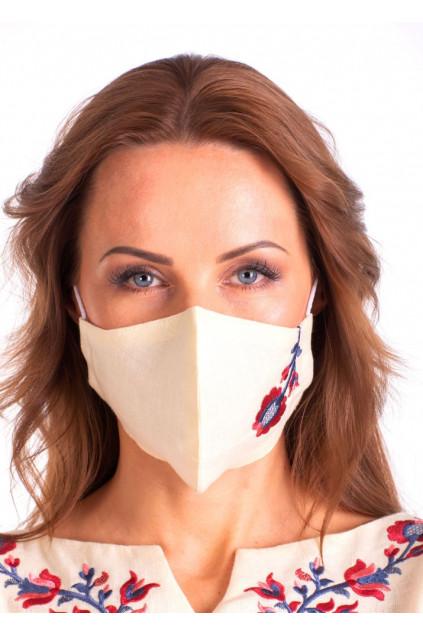 Захистна маска лляна з вишивкою (5025) (Льон вершковий)