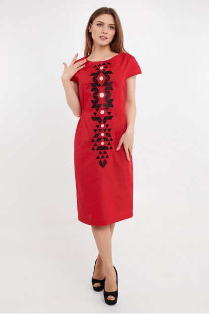 Сукня жіноча Єсенія (льон-стрейч червоний)