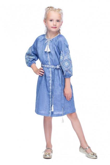 Сукня для дівчинки Іванна (льон блакитний джинс)