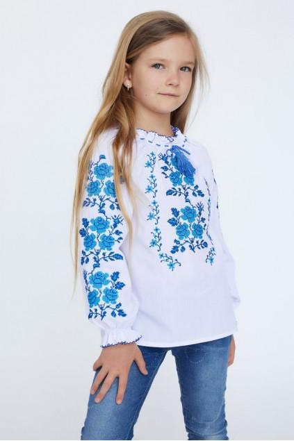 Блуза для дівчинки Букет троянди (сорочкова біла)