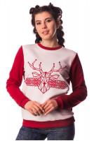 Світшот жіночий Різдвяний олень (Футер бордовий)