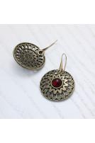 Сережки Солнцеколо малі рубін бронза