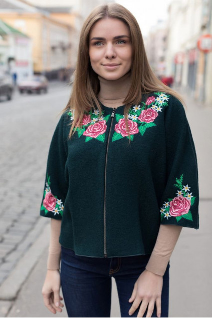 Накидка жіноча Чарівність троянди (Пальтова зелений)