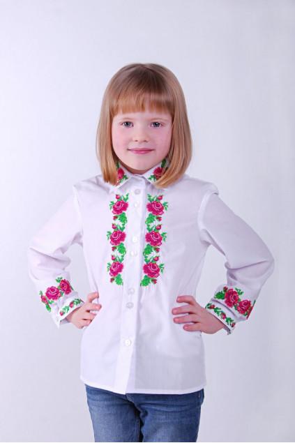 Блуза для дівчинки Барви троянди (сорочкова біла)