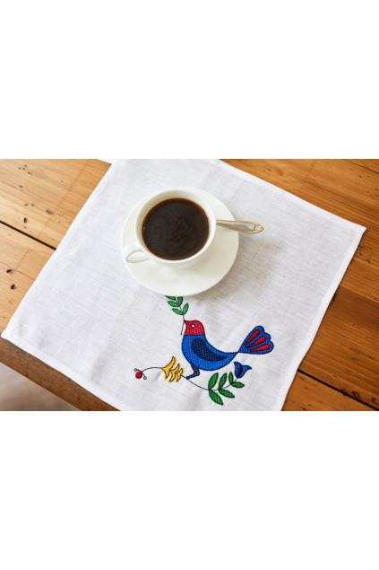 Серветка столова Пташка (Льон білий)