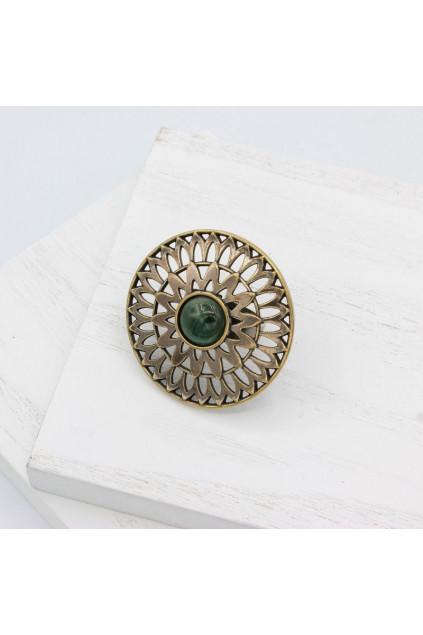Каблучка Солнцеколо бронза нефрит