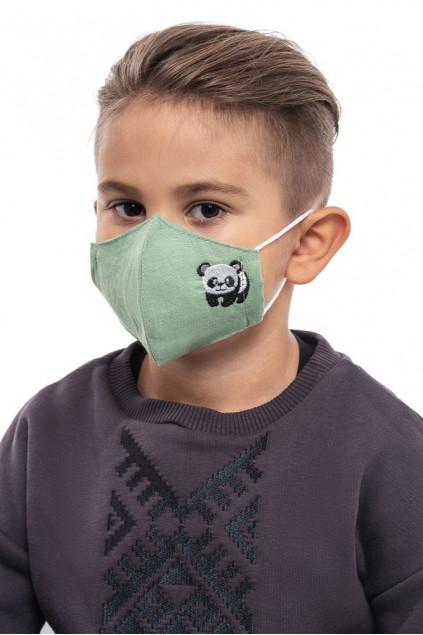 Маска захиcтна дитяча Панда (Льон зелений)