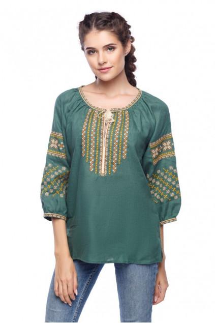 Блуза жіноча Богуслава чарівна (льон зелений)