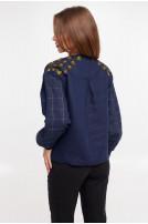Блуза жіноча Златослава (Льон темно-синій)