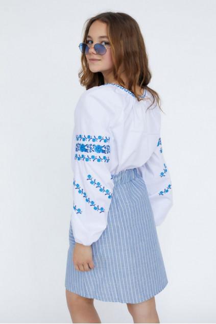 Блуза для дівчинки Подоляночка (сорочкова біла)