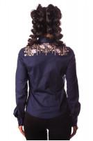 Блуза жіноча Зара (поплін темно-синій)
