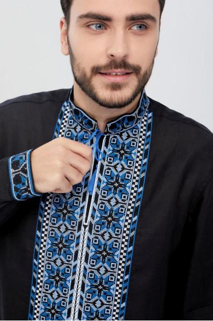 Сорочка чоловіча Мирослав (льон чорний)