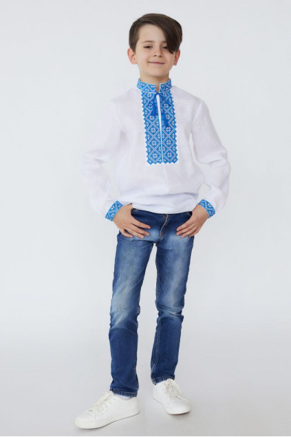 Сорочка для хлопчика Веремій (льон білий)