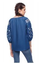 Блуза жіноча Милослава (льон синій)