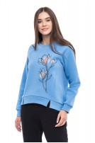 Світшот жіночій Ранкові квіти (Футер з начісом блакитний)