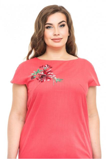 Сукня жіноча Діана (льон-стрейч кораловий)