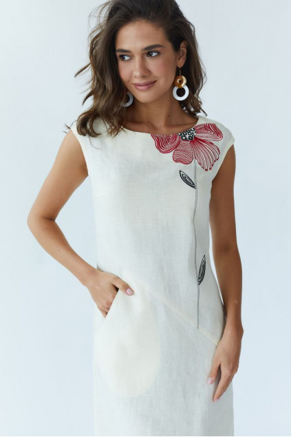 Сукня жіноча Східна квітка (Льон вершковий)