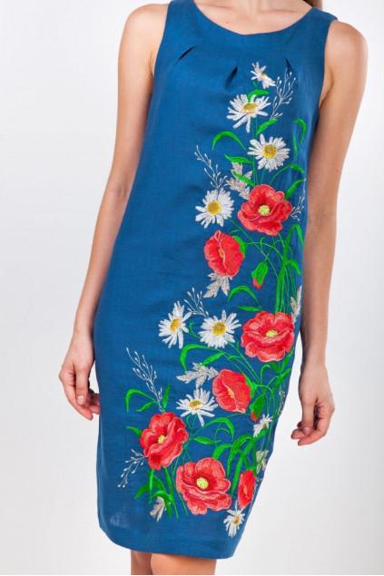 Сукня жіноча Ромашкове поле (льон синій)