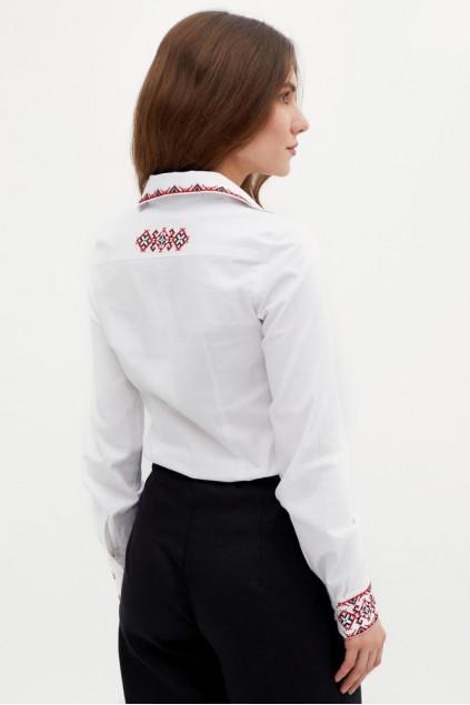 Блуза жіноча Звенислава святкова (поплін білий)