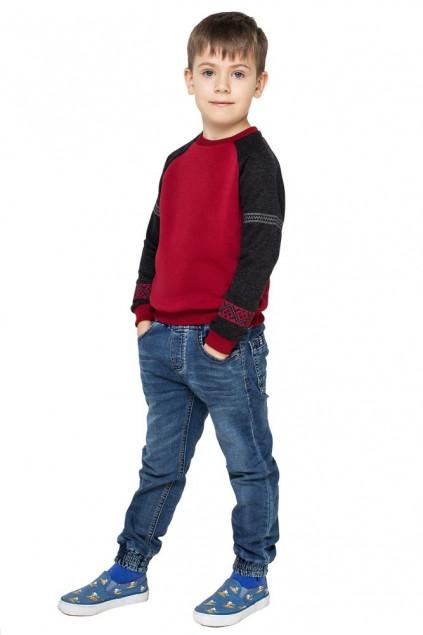 Світшот для хлопчика Вишезор (Футер з начісом бордовий)