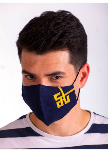 Захистна маска лляна з вишивкою