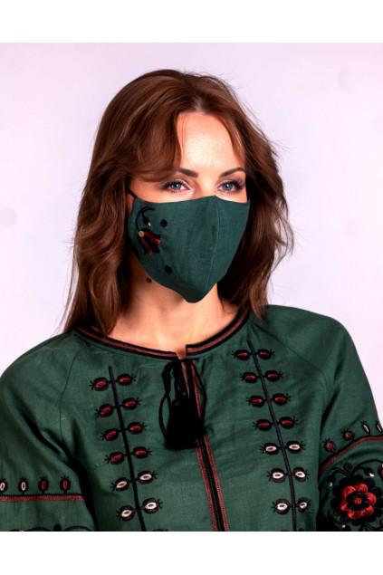 Захистна маска лляна з вишивкою (5020) (Льон темно-зелени)