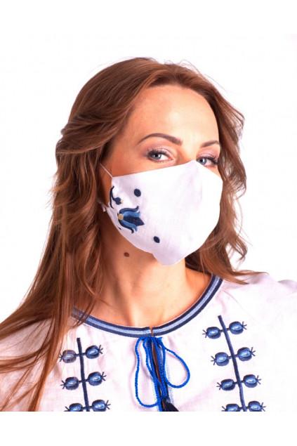 Захистна маска лляна з вишивкою (5021) (Льон білий)
