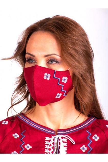 Захистна маска лляна з вишивкою (5023) (Льон бордовий)