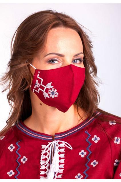 Захистна маска лляна з вишивкою (5023/2) (Льон бордовий)