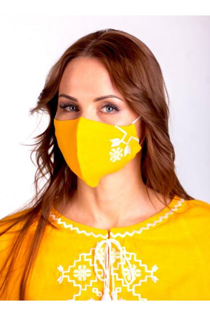 Захистна маска лляна з вишивкою (5024) (Льон жовтий)