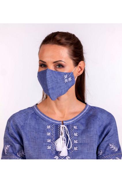 Захистна маска лляна з вишивкою (5027) (Льон блакитний джинс)