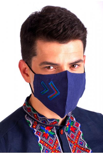 Захистна маска лляна з вишивкою (729) (Льон темно-синій)