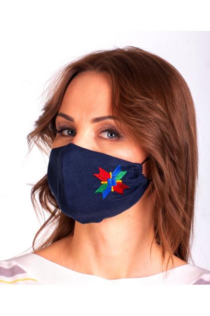 Захистна маска лляна з вишивкою (7401) (Льон темно-синій)