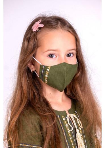 Захистна маска лляна дитяча (6011) (Льон хакі)