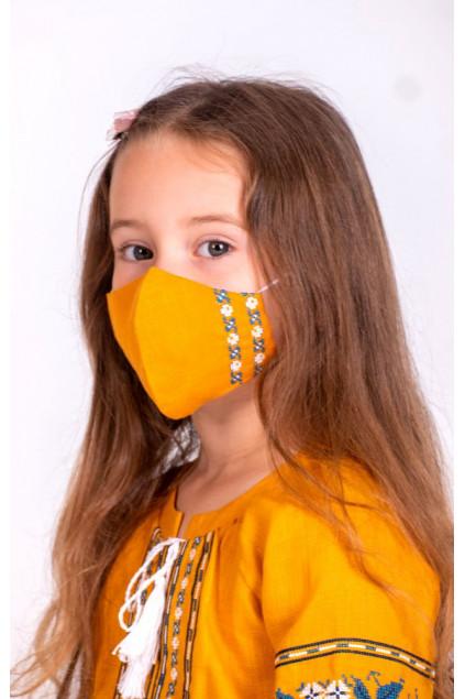 Захистна маска лляна дитяча (6013) (Льон гірчичний)