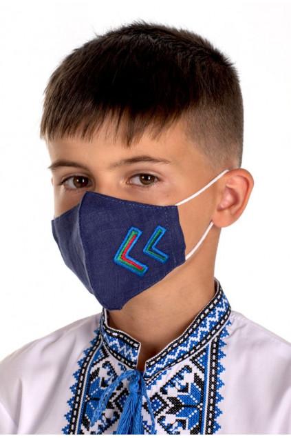 Захистна маска лляна дитяча (7701) (Льон темно-синій)