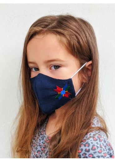 Захистна маска лляна дитяча (7702) (Льон темно-синій)