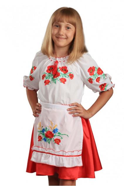 Фартух дитячий Волошкове поле (сорочкова біла)