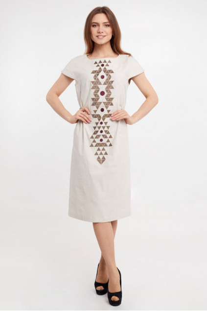 Сукня жіноча Єсенія (льон-стрейч бежевий)