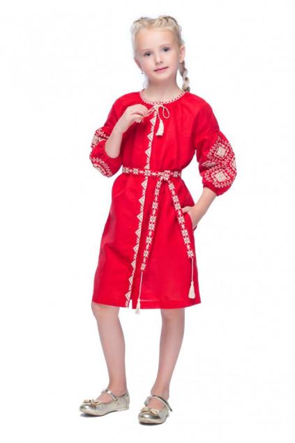 Сукня дитяча Іванна (Льон темно-червоний)