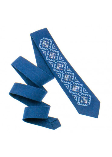 Вишита краватка з льону (929)