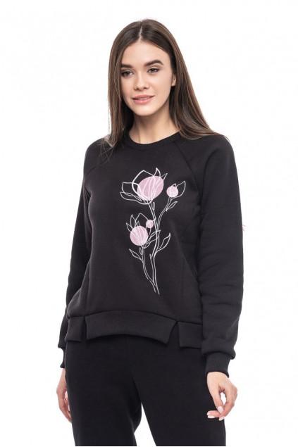 Світшот жіночій Ранкові квіти (Футер з начісом чорний)