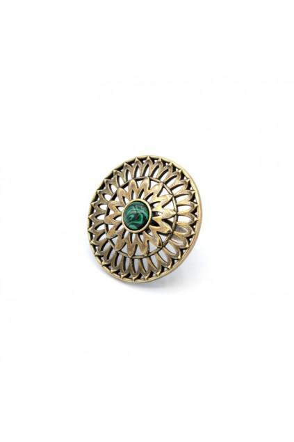 Каблучка Солнцеколо бронза малахіт
