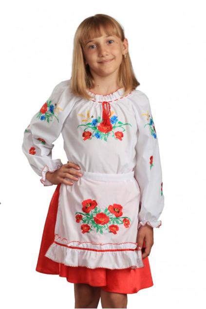 Фартух дитячий Макова роса (сорочкова біла)