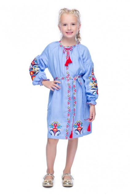 Сукня для дівчинки Сона (Льон блакитний)