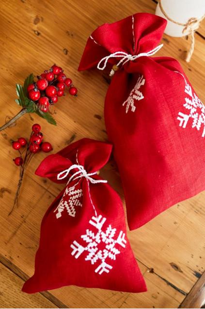 Мішок Сніжинка (Льон костюмний червоний, 19х31см)