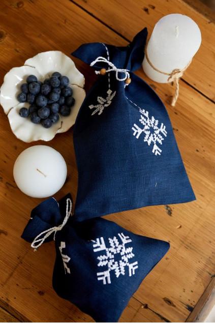 Мішок Сніжинка (Льон костюмний синій, 19х31см)